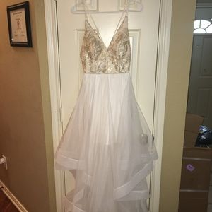 Gold and white long flowy homecoming/prom dress